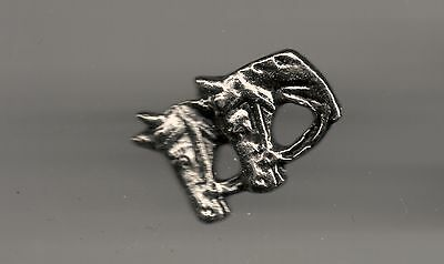 Vintage 2 Horse Heads profile P old metal lapel pin