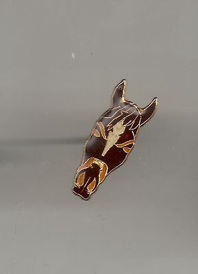 Vintage Brown Horse Head with White Forehead old enamel lapel pin