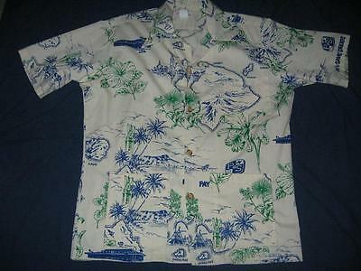 VNTG Pay N Save Drug Store Uniform Hawiian Shirt Mens LG NOS Blue Green Logo