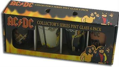 AC DC beer pint glasses set of 4 NICE collectors item Highway to Hell Who Made +