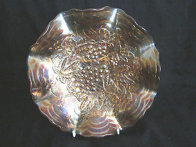 ~VINTAGE AMBER CARNIVAL GLASS RUFFLED EDGE BOWL with GRAPES ON VINE - VGC~