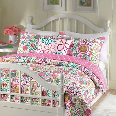 Cozy Line Pink Floral 3-Pcs Quilt Sets Reversible with Polka Dot for little g...
