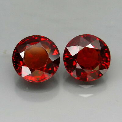 Round 6 mm.PAIR! Outstanding Color Natural Red Spessartite Garnet 2.40Ct.