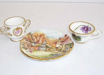 Miniatures Spode Charles & Diana Loving Cup,Hammersley Violets Cup,Gilded Plate.