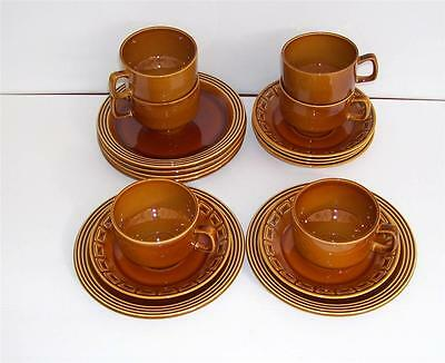 Set of 6 Retro Adams Micratex Treacle Glaze Cups,Saucers and Plates.