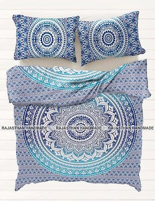 Indian Mandala Blue Ombre Queen Size Duvet Donna Cover Double Bed Quilt Cover