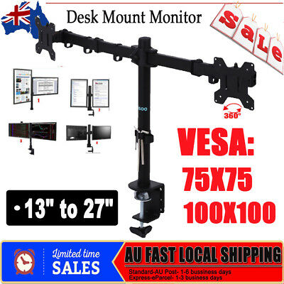Dual HD LED Desk Monitor Stand Mount Bracket 2 Arms Holds LCD Screen TV Black AU