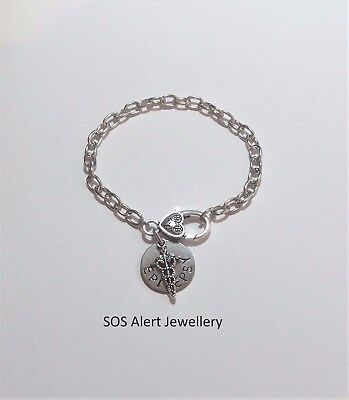 REDUCED TO CLEAR Strong Emergency Medical Alert ID Warning Charm Bracelet