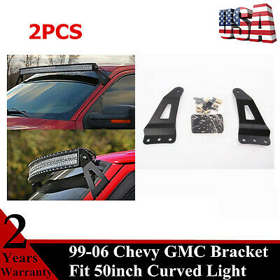 Fits 2PCS Windshield Mounting Brackets 50Inch LED Curved Light Bar Chevy GMC