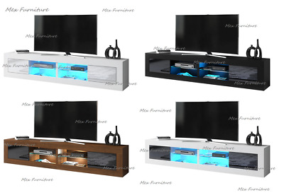 TV Unit 200cm Cabinet Stand Sideboard Matt body and High Gloss fronts LED Light