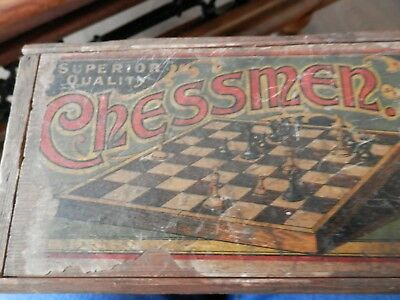 Vintage Wooden Superior Quality Chessmen Set in Wooden Box.Good condition pieces