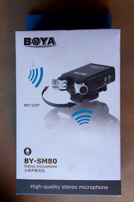 BOYA BY-SM80 Stereo Microphone for DSLR's & Camcorders, New UK Stock