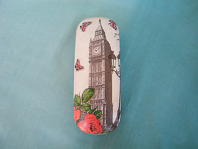 Hard eyeglasses case with London,glasses holder, metal box,shabby chic,Big Ben