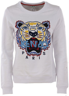 fff3fd1fefa KENZO Women s White Embroidered Icon Tiger Sweatshirt Jumper Signature  X-Small
