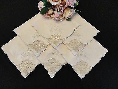 Six Vintage and Old Napkins in Ecru Shades Perfect for Vintage Weddings