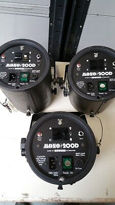 E4-3 x Used Bowens Mono 200D Flashheads for Spares or Repair
