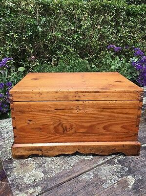 Dovetailed Wooden Box Trunk with Hinged Lid with Handles Antique Vintage Old