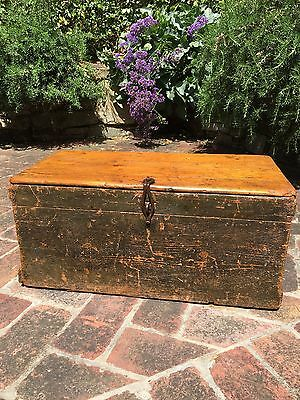 Wooden Box Trunk with hinged Lid Ammunition Antique Old Vintage