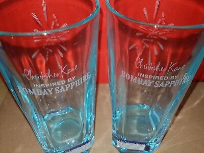 2 x Bombay Sapphire Gin Hi-Ball Glasses in Blue .. NEW STOCK