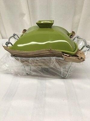 NIB GODINGER 1 QT. COVERED PORCELAIN BAKER WITH WARMER STAND By Silver Art Co.