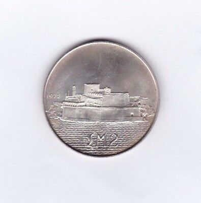 1972 Malta Silver Two Pounds In Near Mint Condition