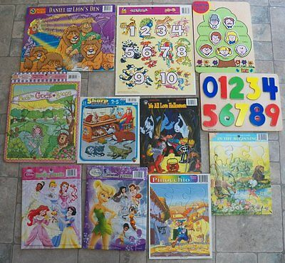 Lot of 11 Frame Tray++ Puzzles Wood DISNEY/HALLOWEEN/RELIGIOUS/numbers