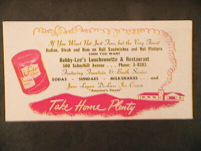 "1940 Jane Logan Ice Cream Bobby-Lee's Schuylkill Ave  ""reading Pa"" Ink Blotter"