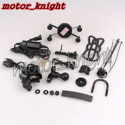 Black Motorcycle Universal Navigation Bracket W/USB Charge Port Support