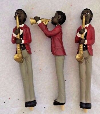 BLACK AMERICANA SAX PLAYER MUSICIAN FIGURE Ink Pen LOT OF 3