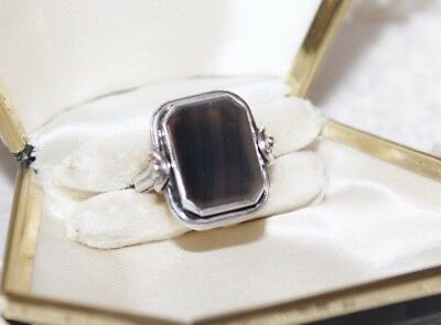 Art Deco STERLING Silver SCENIC AGATE Ring sz 5.5