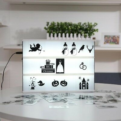 A4 Size Cinematic Light Box Cinema LED Letter Lamp Decor Color Black emoji Card