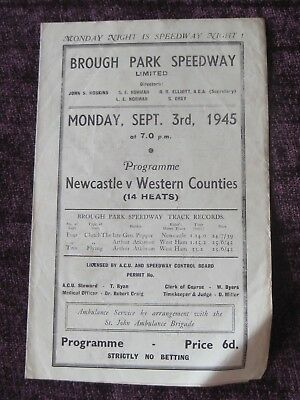 1945 BROUGH PARK Speedway programme NEWCASTLE v WESTERN COUNTIES Sept 3rd