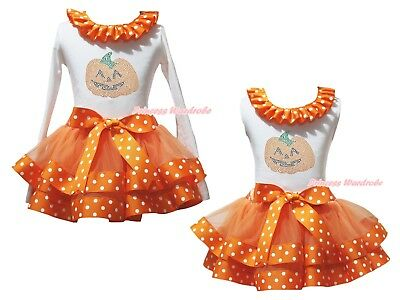 Rhinestone Pumpkin White Top Orange White Dots Satin Trim Skirt Outfit Set NB-8Y