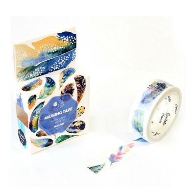 7m White Watercolour Feather 15mm Washi Tape Cards Wrapping Feathers Japanese