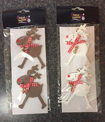 2 x Christmas Wooden Reindeer Hanging Tree Decorations with Bells White or Brown
