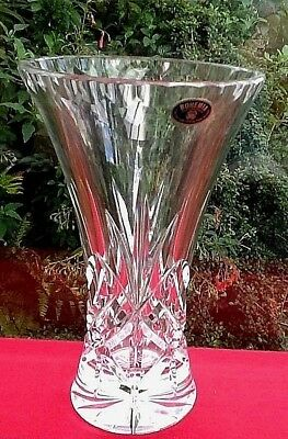 "VINTAGE Crystal FLOWER Vase BOHEMIAN Fabulous Christmas Quality 7"" Tall"