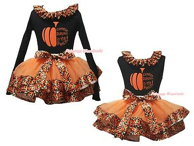 Cutest Pumpkin Black Top Orange Pumpkin Satin Trim Skirt Girls Outfit Set NB-8Y
