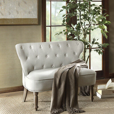 Beige Button Tufted Fabric Upholstered Loveseat Settee Reclaimed Natural NEW