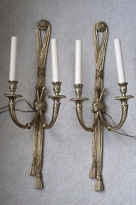 Pair of Vintage Neoclassical Bronze Brass Wall Sconces 2 Arm Candelabra Electric