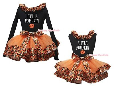 Little Pumpkin Black Top Orange Pumpkin Satin Trim Skirt Girls Outfit Set NB-8Y