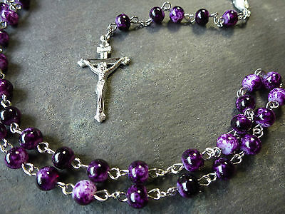 Purple marble style 6mm beads Rosary beads necklace Christian silver