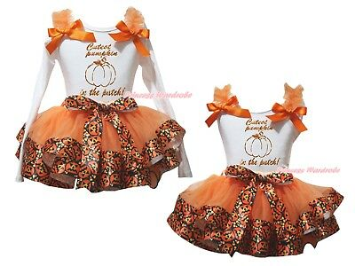 Cutest Pumpkin White Top Orange Pumpkin Satin Trim Skirt Girls Outfit Set NB-8Y