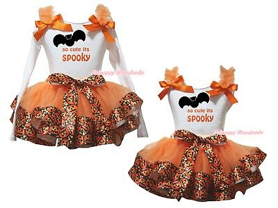 So Cute Its Spooky White Top Orange Pumpkin Satin Trim Skirt Outfit Set NB-8Y