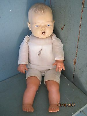 Ideal Antique Doll Molded Head Painted Blue Eyes - Musical