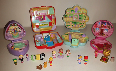 Vintage Bluebird Original Polly Pocket Bundle of 4 with figures 1989 1990's