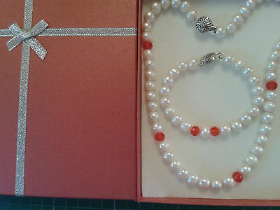Freshwater Pearls, White With Red Crystal Beads Necklace and Bracelet Gift Set