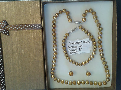 Saltwater Pearl (Golden) Necklace and Bracelet and Earrings Gift Set