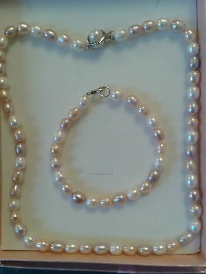 Freshwater Pearls In Pinks, Purples and White, Necklace and Bracelet Gift Set