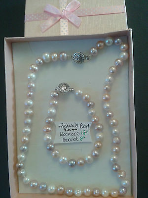 Freshwater Pearl (Pinks,Purples and White) Necklace and Bracelet
