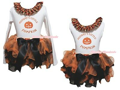 Mummy's Little Pumpkin White Top Orange Black Petal Skirt Girls Outfit Set NB-8Y